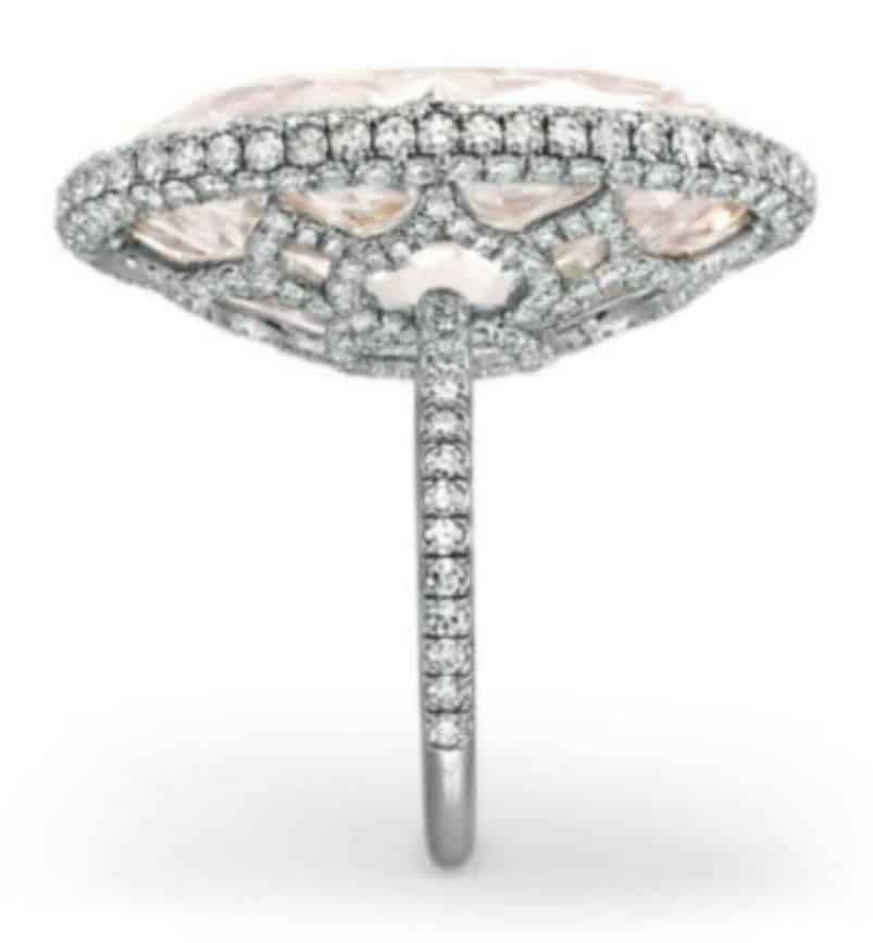 Lot 314 - Side view of rare colored diamond and diamond ring