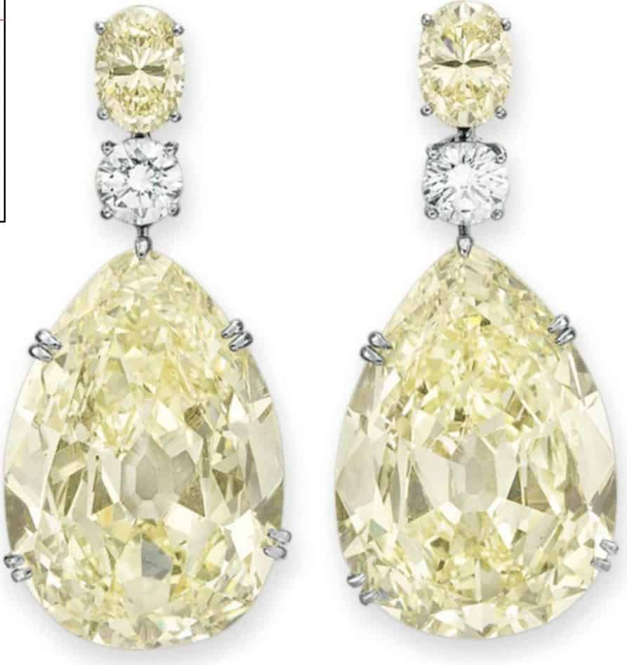 Lot 276 - A Magnificent Pair of Colored Diamond and Diamond Ear-Pendants