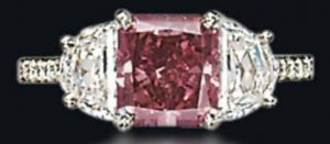 1.92-carat rectangular-cut fancy-red diamond, world record holder for price-per-carat for a red diamond