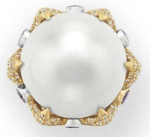 Lot 275 - Top view of the Natural Pearl, Colored Diamond And Diamond Ring