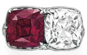 Lot 194 - Top View of Rare Ruby And Diamond Twin Stone Ring