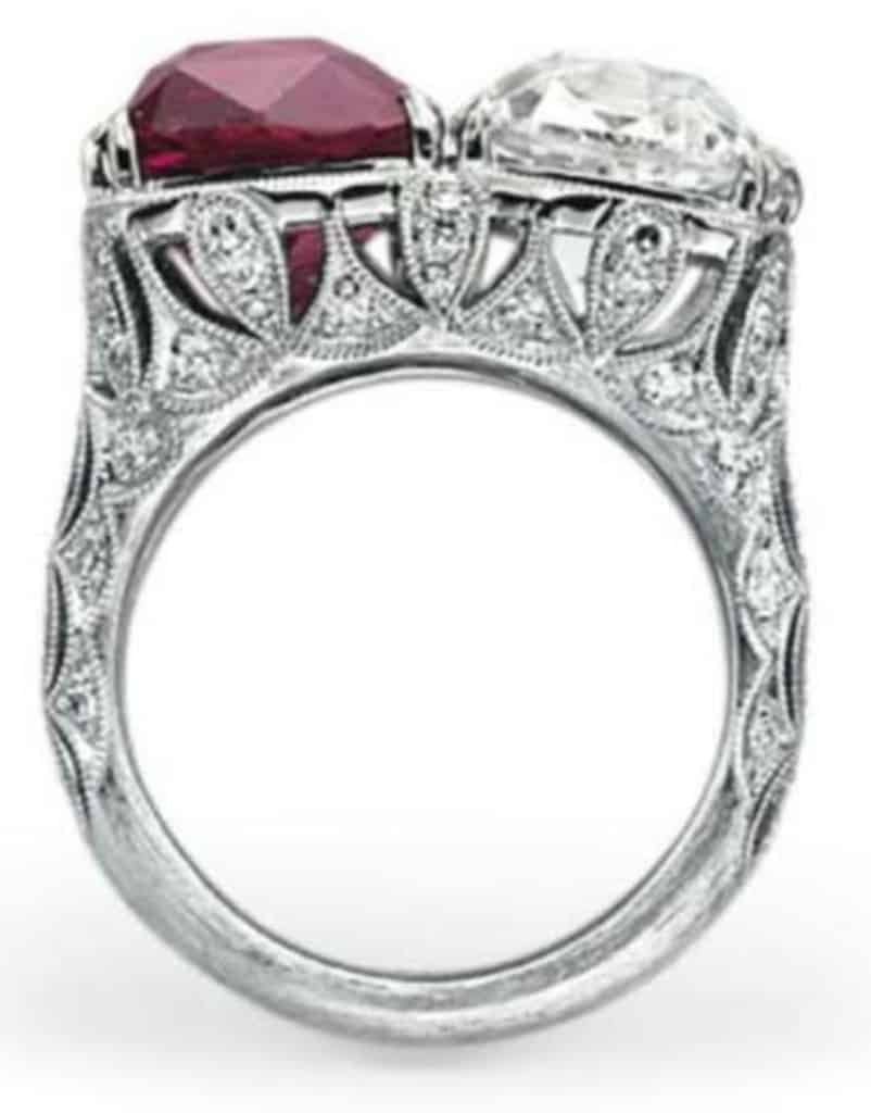 Lot 194 - Side View of Rare Ruby And Diamond Twin Stone Ring