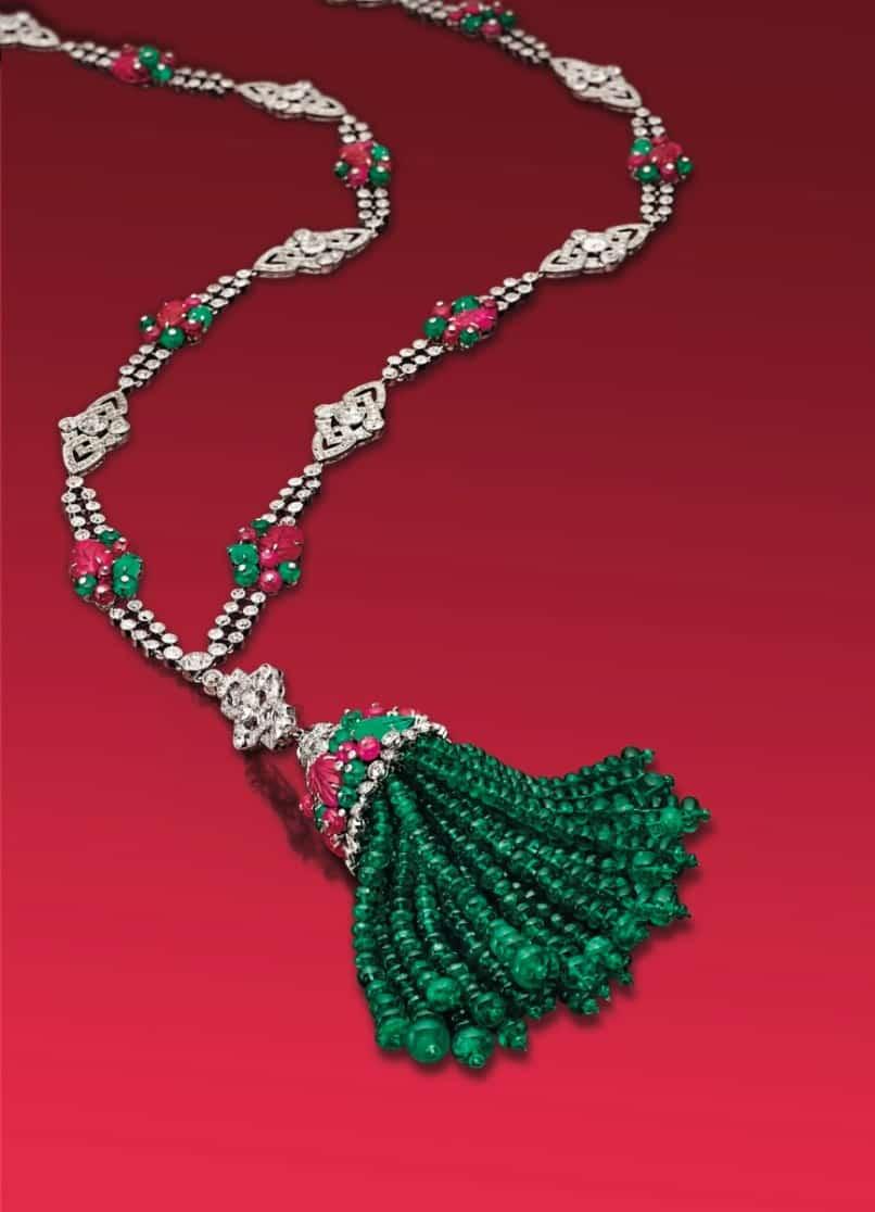 Lot 322 - An Art Deco Diamond, Emerald And Ruby Sautoir, by Boucheron
