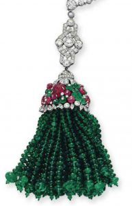 Lot 322 - Emerald Bead Detachable Tassel Pendant of the Art Deco Sautoir by Boucheron