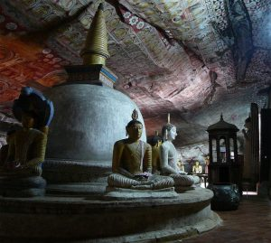 Seated Buddha Statutes at Dambulla Cave Temple