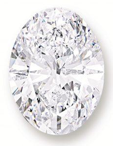 118.28-carat, oval brilliant-cut, D-color, flawless Spectacular Oval Diamond