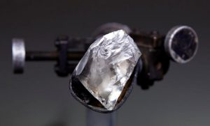 The 200-carat rough diamond during the cutting and polishing process