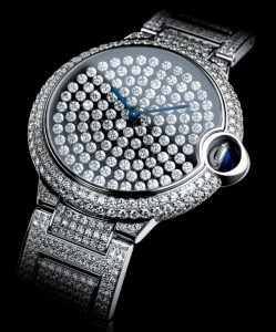 Another view of the Cartier Ballon Bleu Vibrating Diamonds Setting Watch