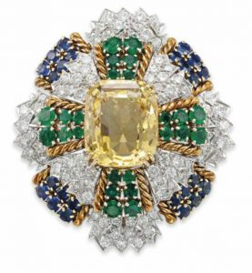 Lot 245 - A Diamond, Yellow Sapphire, Emerald and Sapphire Brooch by David Webb