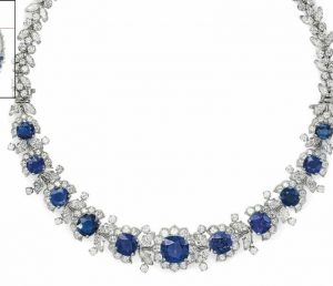 Lot 254 - An Important Sapphire  and Diamond Necklace by Van Cleef & Arpels