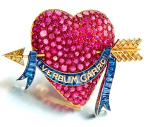 Lot 297 - The Millicent Rogers Heart - A Ruby, Sapphire, Colored Diamond and Enamel Brooch by Paul Flato