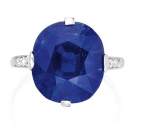 Another view of the Superb Platinum, Sapphire and Diamond Ring