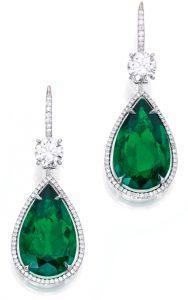 Lot 129 - Pair of Platinum, 18k White-Gold, Emerald and Diamond Pendant Earrings