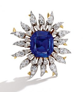 Lot 170 - 18k-Gold, Platinum, Sapphire and Diamond Brooch by Schlumberger for Tiffany & Co., France