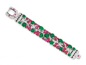 Lot 356 - Iconic Platinum, Emerald, Ruby, Diamond, Enamel Tutti-Frutti Bracelet, Cartier, New York
