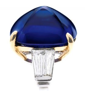 Lot 358 - Another view of the Important Platinum, 18k-Gold, Sapphire and Diamond Ring