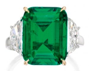 Lot 359 - Platinum, 18K-Gold, Emerald and Diamond Ring