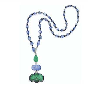 Lot 364 - Elegant and Rare Platinum, Emerald, Sapphire, Lapis Lazuli and Diamond Pendant-Necklace