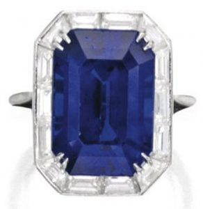 Lot 367 - Platinum, Sapphire and Diamond Ring by Harry Winston