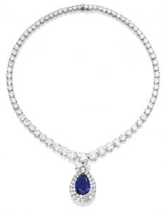 Lot 369 - Platinum, Sapphire and Diamond Necklace by Harry Winston.