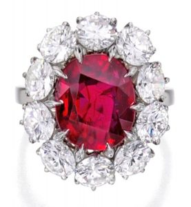Lot 90 - Platinum, Ruby and Diamond Ring