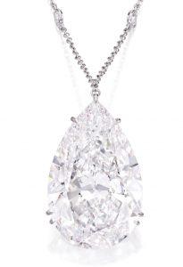 Lot 169 - The 52.26-carat, pear-shaped diamond pendant enlarged