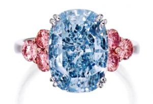 Lot 366 - An Important Platinum, Rose-Gold, Fancy Blue Diamond and Colored Diamond Ring