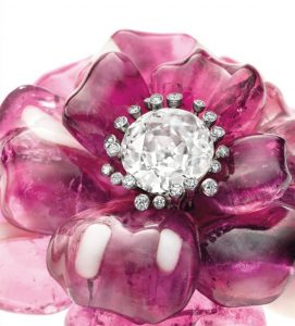 A Pair of Tourmaline and Agate Camellia Brooches by JAR, circa 1985
