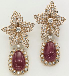 Van Cleef & Arpels ruby and diamond ear-pendants from the collection of Jacqueline Kennedy Onassis