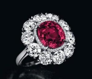 "6.25-carat, cushion-cut, ""Pride of Burma"" ruby ring"