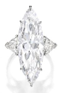 Lot 151 - 14.33-carat, marquise-cut, D-color, VVS1-clarity, Type IIa diamond Ring