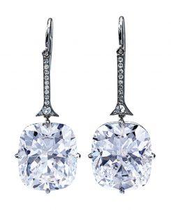 Lot 442 - Pair of Fine Diamond Earrings