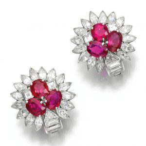 Lot 488 - Pair of Ruby and Diamond Earrings, Cartier, 1930s