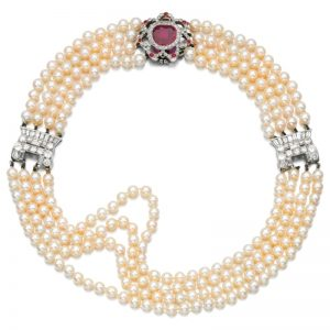 Lot 489 - Natural Pearl, Ruby and Diamond Choker, early 20th-century and later