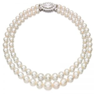 Lot 498 - Natural Pearl and Diamond Necklace by Cartier