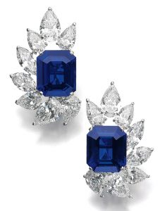 Lot 500 - Pair of Very Fine and Rare Sapphire and Diamond Ear Clips by Cartier