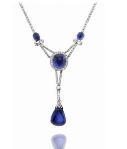 Lot 107 - A BELLE ÉPOQUE SAPPHIRE AND DIAMOND PENDANT NECKLACE