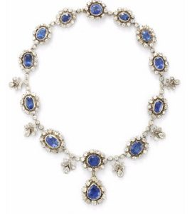 Lot 13 - A Sapphire and Diamond Necklace, Earring and Ring Suite