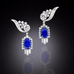 Lot 135 - A Pair of Sapphire and Diamond Pendent Earrings, circa 1960