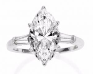 Lot 146 - A Diamond Single Stone Ring, set with a 4.20-carat, D-color, IF-clarity, marquise-cut diamond