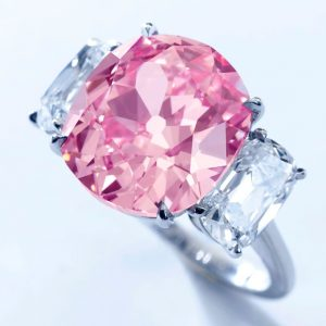 Another View of the 8.72-carat, fancy vivid-pink, cushion-cut, VS2-clarity Princess Mathilde's diamond ring