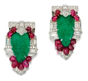 Lot 469 - Pair of Fine Gem-set and Diamond Clips, by Cartier, Circa 1930