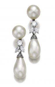 Lot 478 - Pair of Fine Natural Pearl and Diamond Pendant Earclips by Petochi