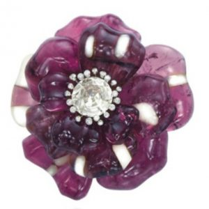 Lot 270 - One of a Pair of Tourmaline, Agate and diamond Camellia Brooches by JAR