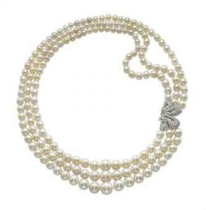 Lot 69 - A Three-Strand Natural Pearl, Cultured Pearl and Diamond Necklace