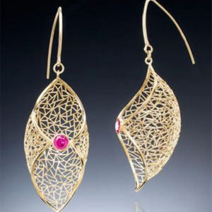 Pair of hand fabricated 18k yellow-gold wire earrings, bezel-set with 4 mm rubies - First place Professional Design Excellence (1-3 years)