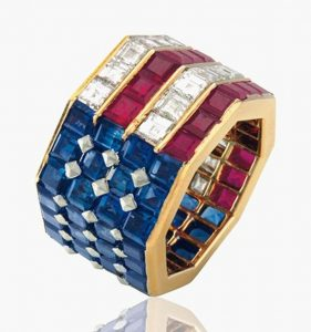 Lot 126 - Diamond Sapphire and Ruby Ring by Bulgari