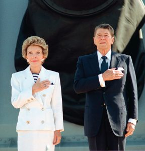 President Reagan and First Lady aboard USS Iowa
