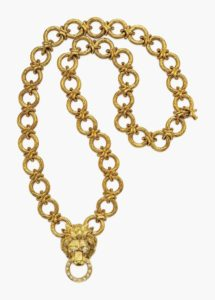 Lot 162 - Diamond and Gold Lion Pendant Brooch Necklace