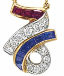 Diamond, Sapphire and Ruby 76 Pendant enlarged